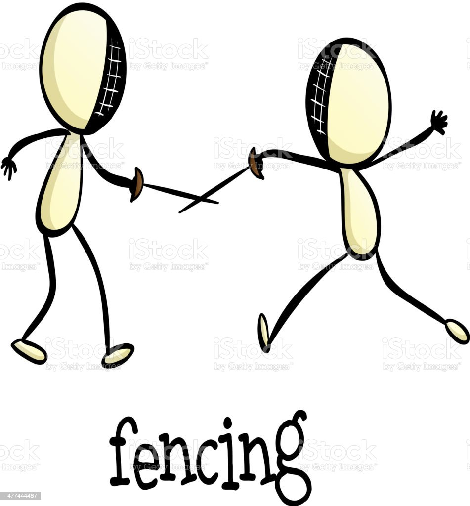 Fencing activity royalty-free stock vector art