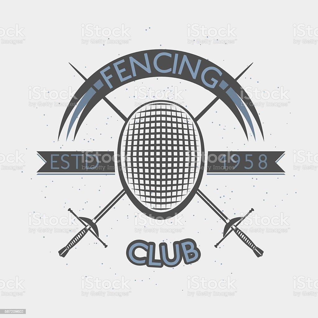 Fencing club badge illustration with foil and mask. Sport vintage vector art illustration