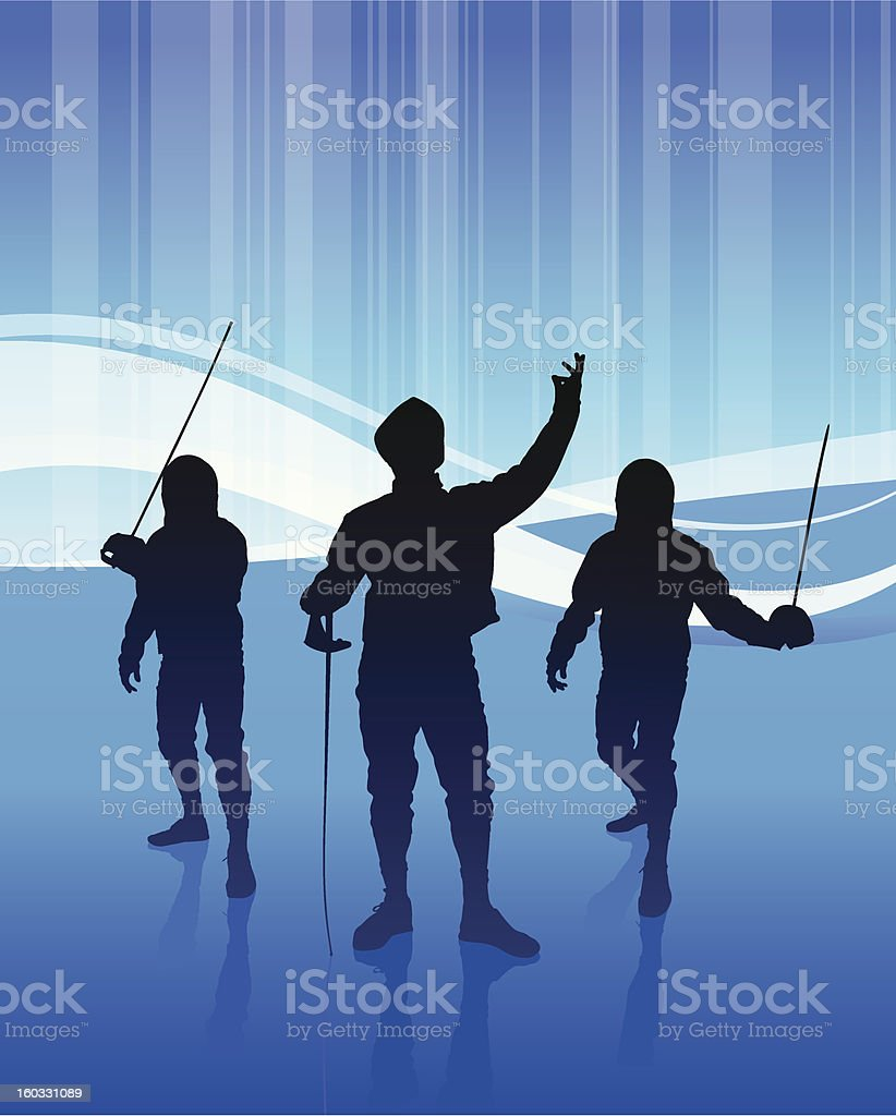Fencing Team on Blue Background royalty-free stock vector art