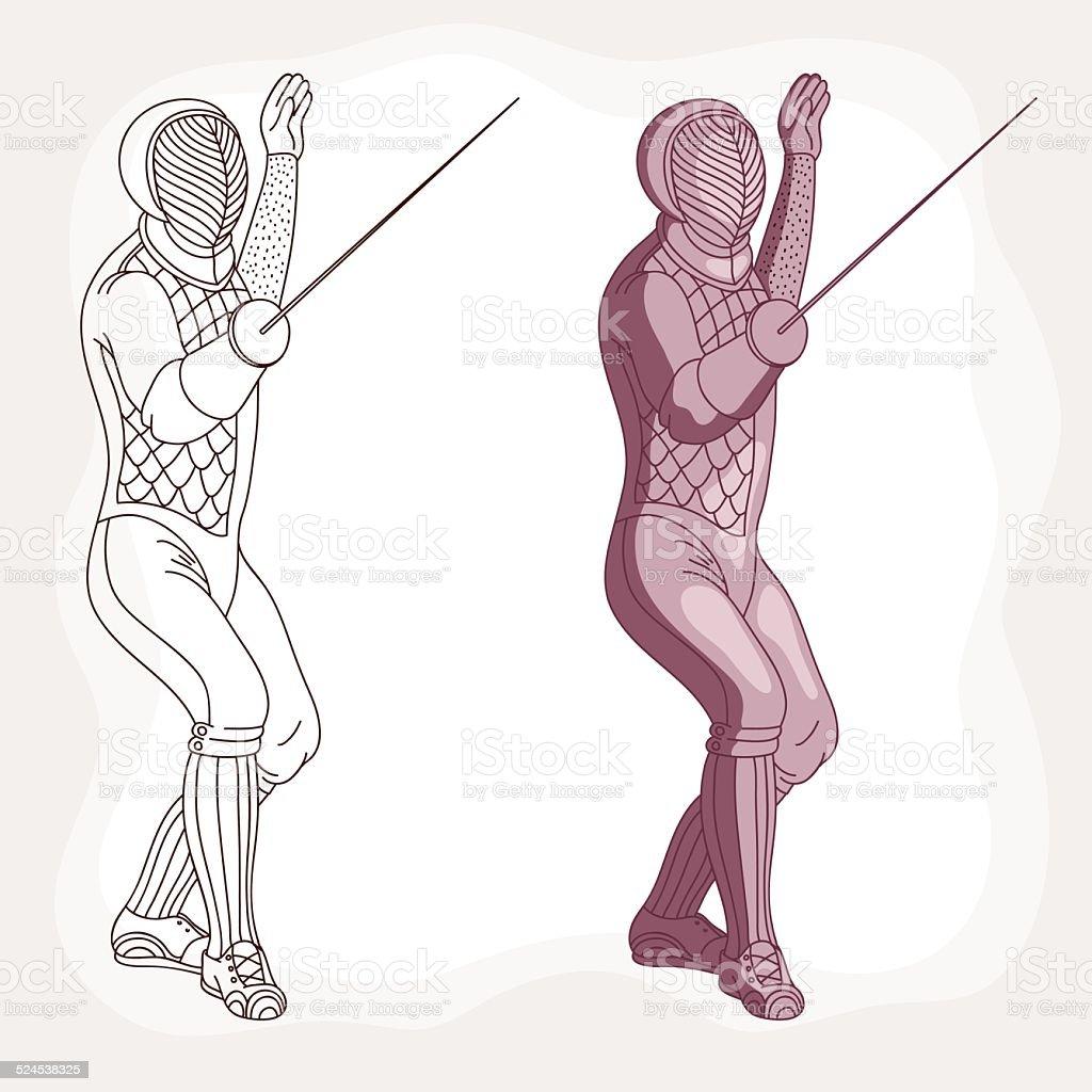 Fencing vector art illustration