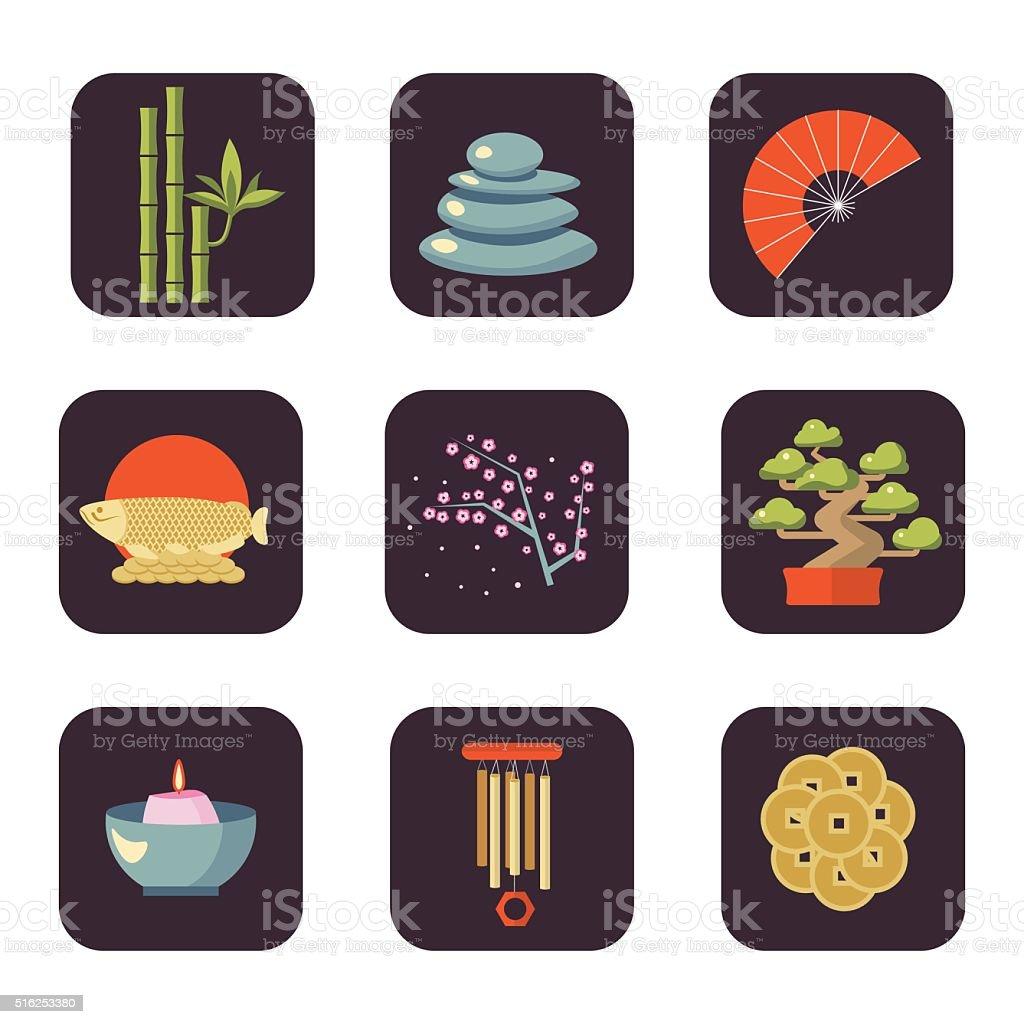 Feng Shui vector icon set vector art illustration