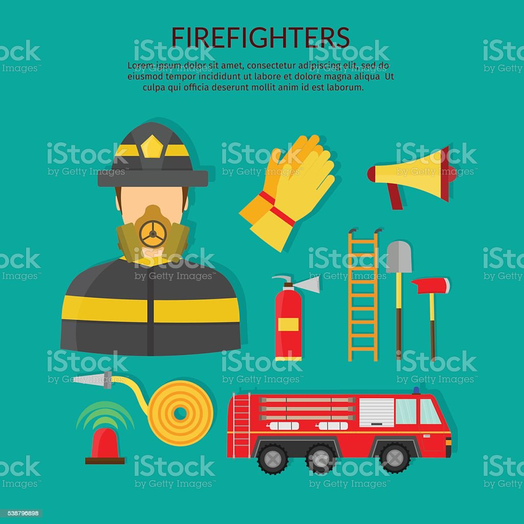 Ferefighters vector toost and people banner set vector art illustration