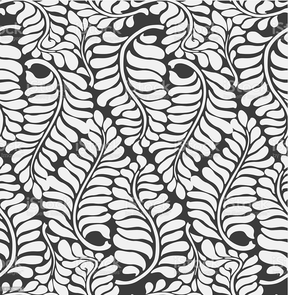 Fern leaves wallpaper pattern background (tiles seamlessly) vector art illustration