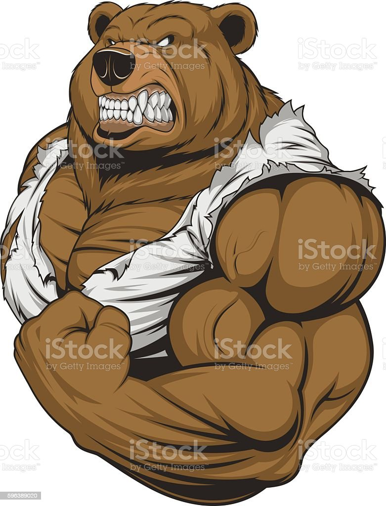 .Ferocious Bear athlete vector art illustration