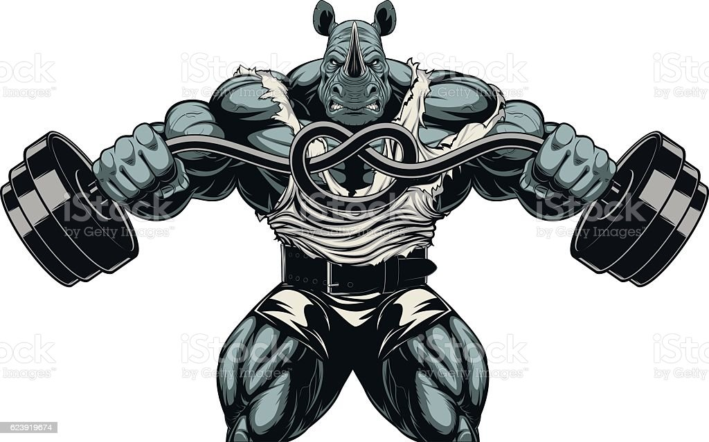Ferocious Rhino athlete vector art illustration