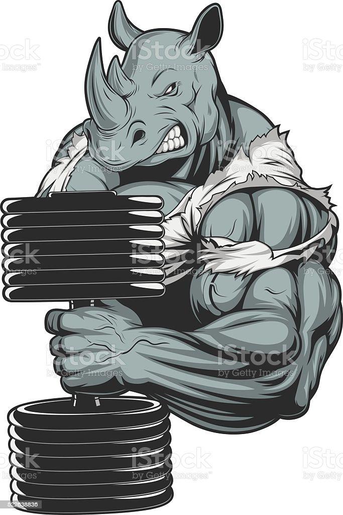 Ferocious strong rhinoceros vector art illustration