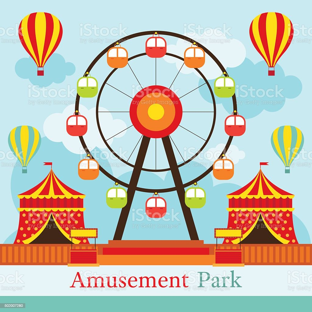 Ferris Wheel, Amusement Park, Carnival, Fun Fair, vector art illustration