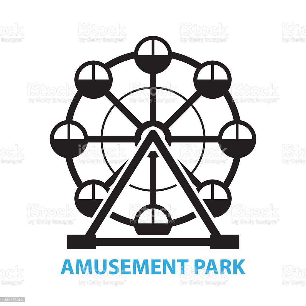 Ferris wheel, amusement park icon and symbol vector art illustration