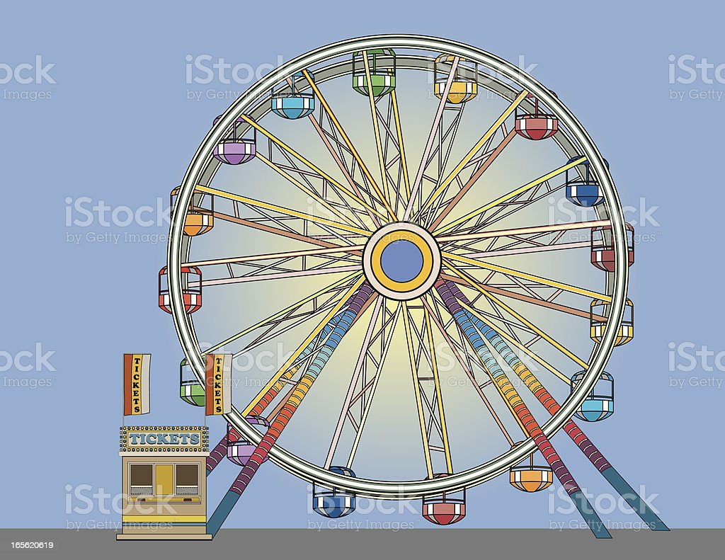 Ferris Wheel and Ticket Booth royalty-free stock vector art