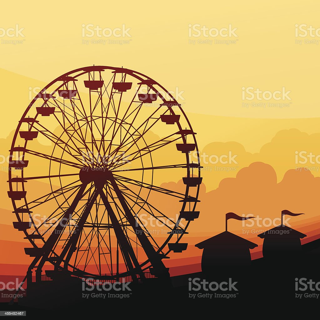 Ferris Wheel Background vector art illustration