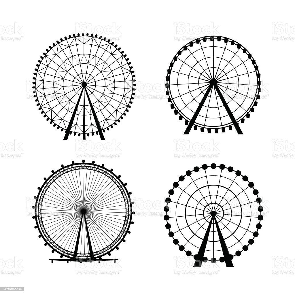Ferris Wheel from amusement park, vector silhouette vector art illustration