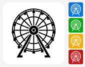 Ferris Wheel Icon Flat Graphic Design