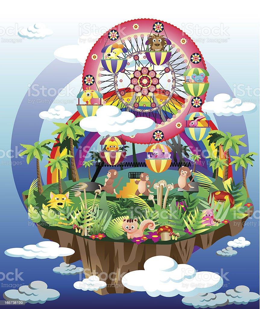 Ferris Wheel Island vector art illustration