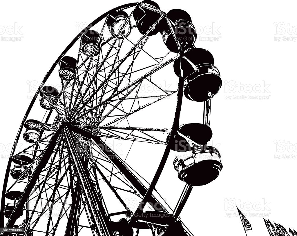 Ferris Wheel Line Art vector art illustration