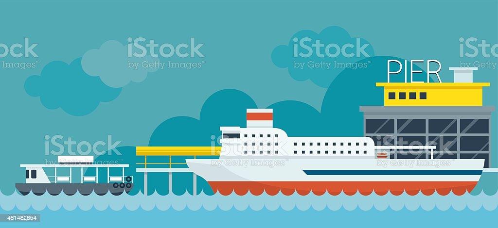 Ferry Boat Pier Flat Design Illustration Icons Objects vector art illustration