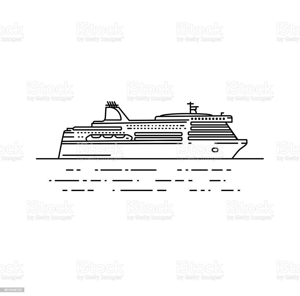 Ferry boat vector illustration in linear stile. vector art illustration