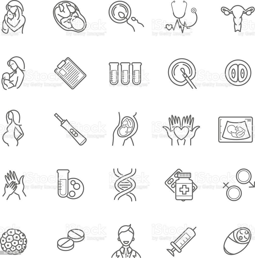fertilization, pregnancy and motherhood vector icon set. Gynecol vector art illustration