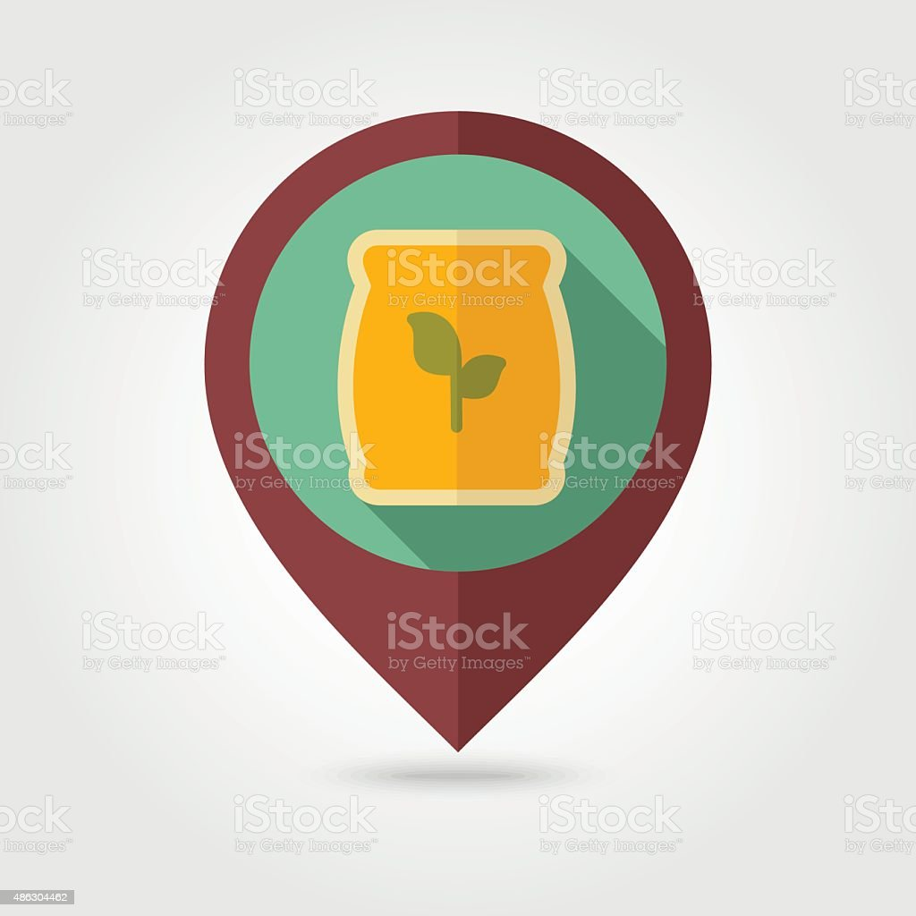 Fertilizer flat mapping pin icon with long shadow vector art illustration