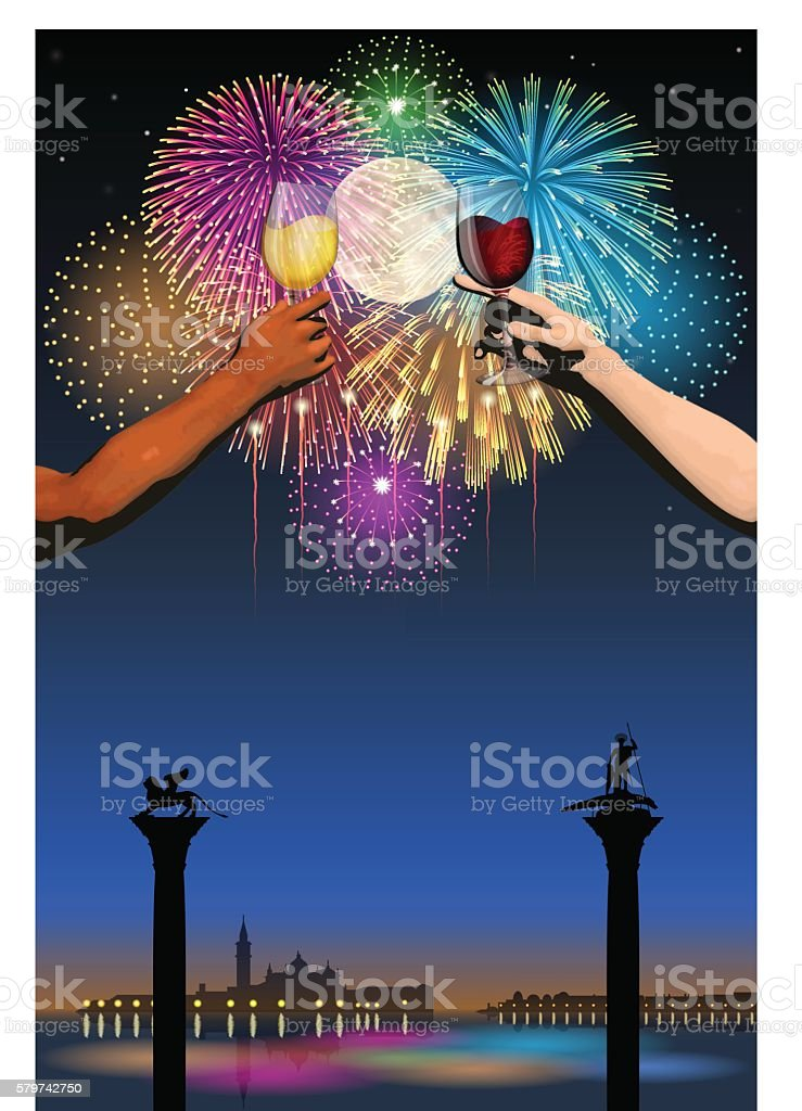 Festa del Redentore[Fireworks and full moon and wine] vector art illustration