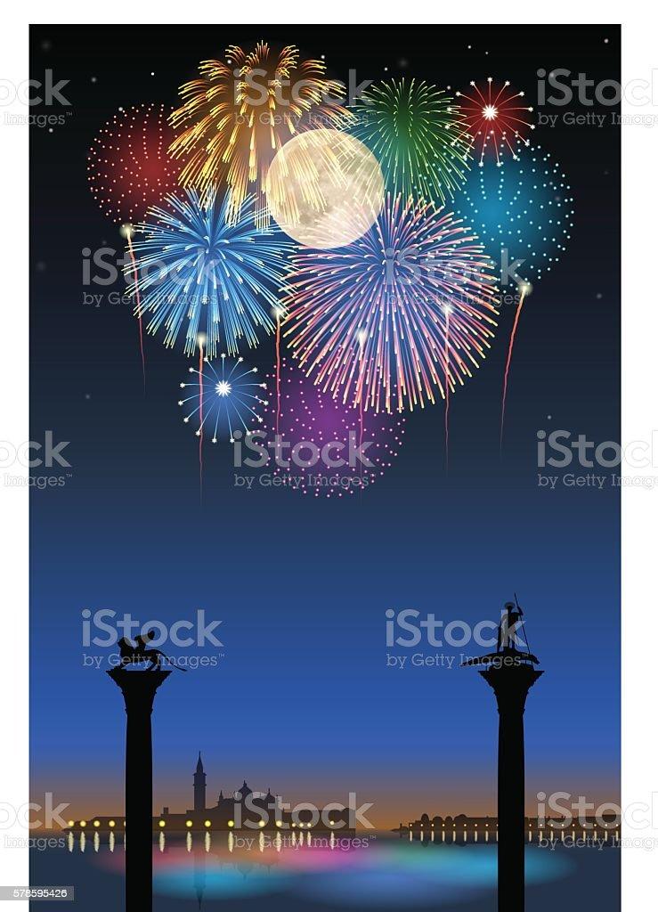 Festa del Redentore[Fireworks and full moon] vector art illustration