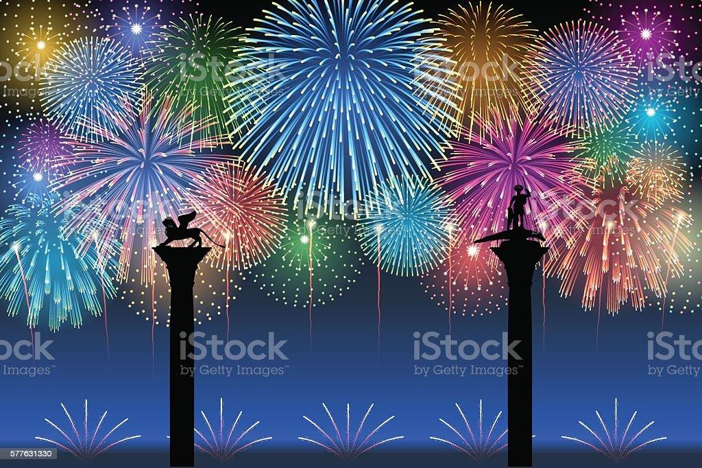 Festa del Redentore[Fireworks] vector art illustration
