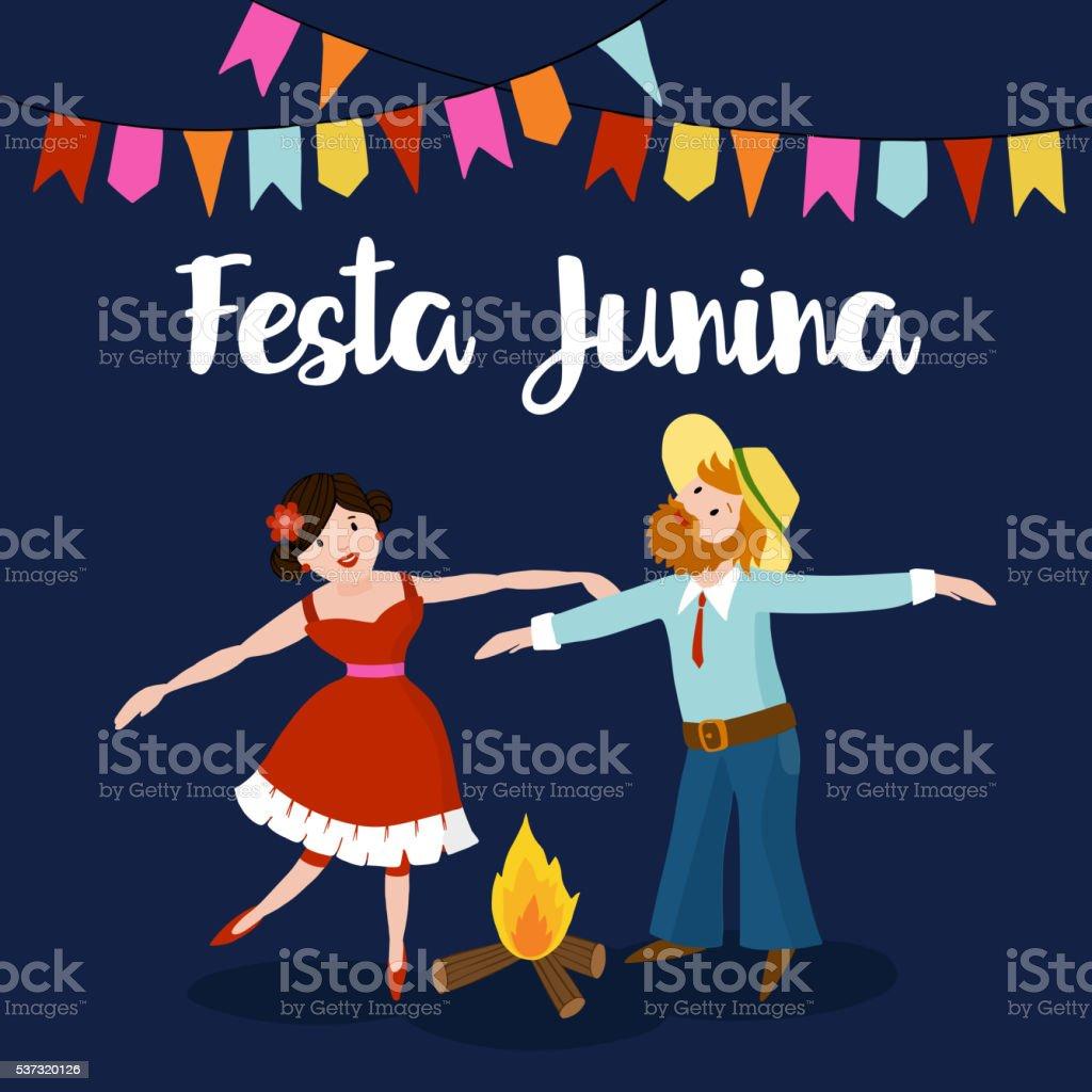 Festa junina. Boy, girl dancing around fire, Brazilian june party. vector art illustration