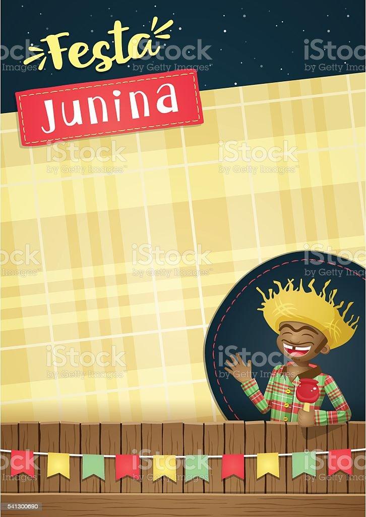 Festa Junina, brazilian june party Template or invite - A5 vector art illustration