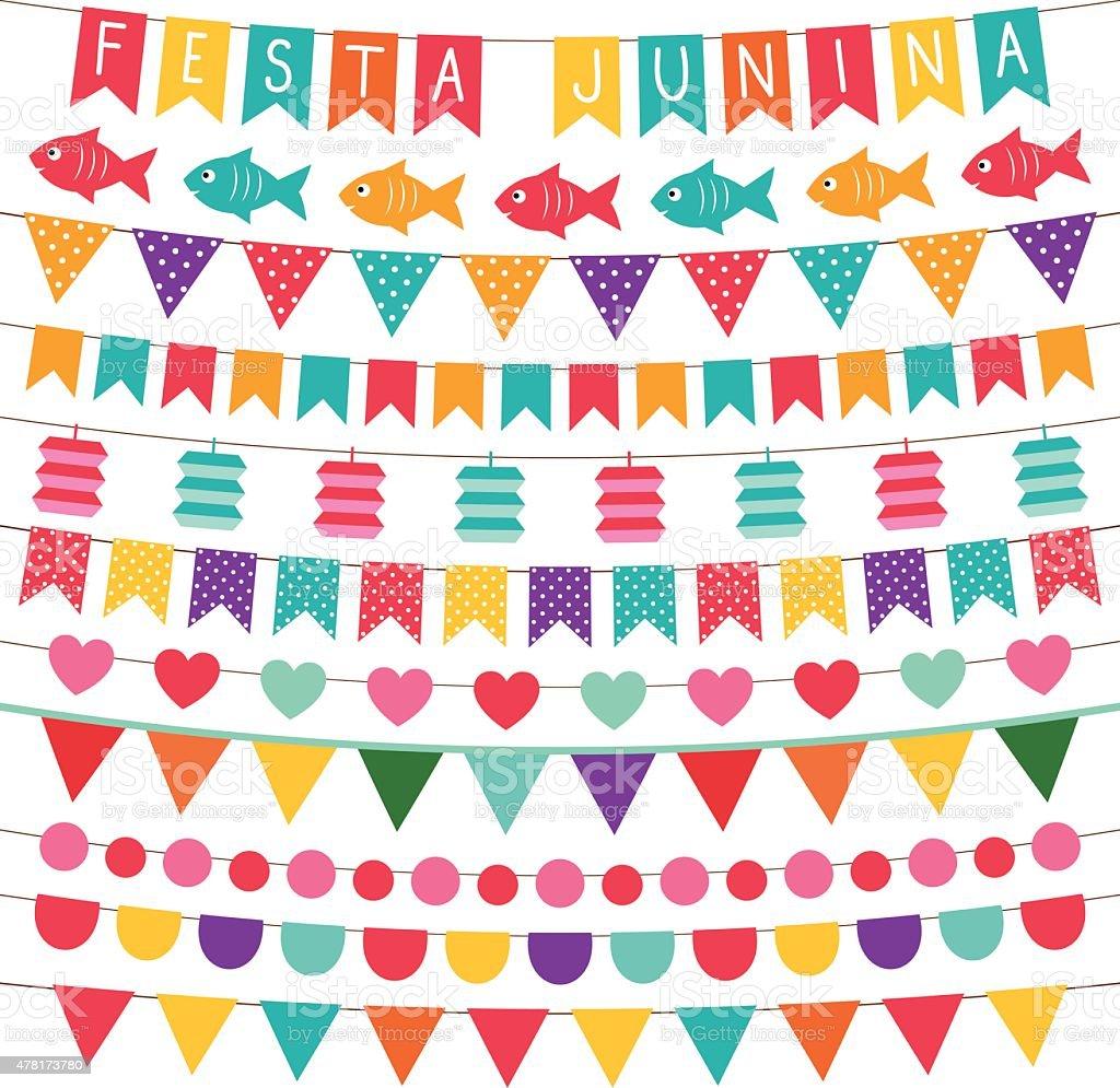 Festa Junina bunting flags set vector art illustration