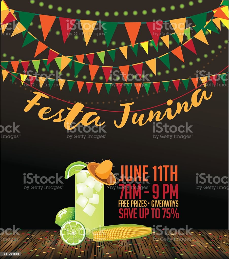 Festa Junina (June party) marketing design vector art illustration