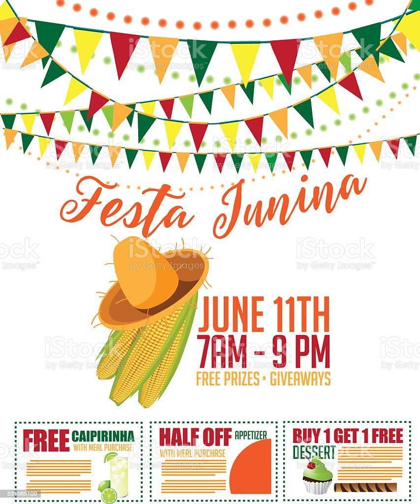 Festa Junina (June party) marketing design with coupons vector art illustration
