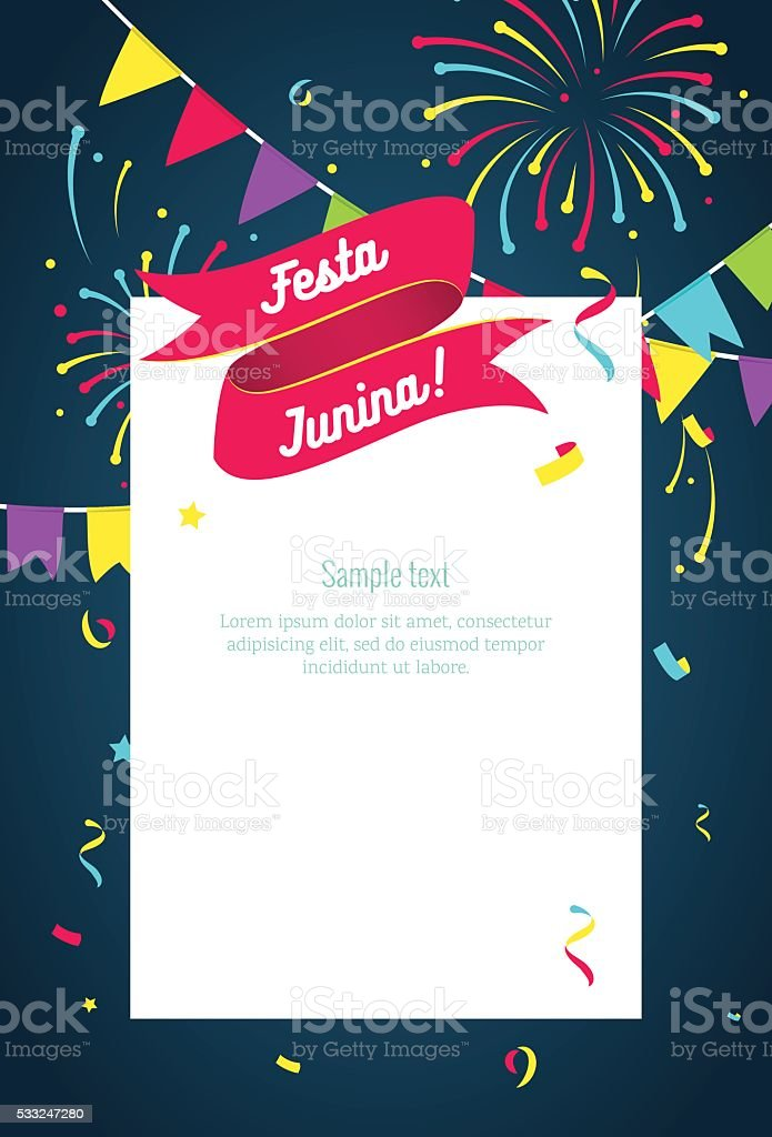 Festa Junina party greeting design. vector art illustration