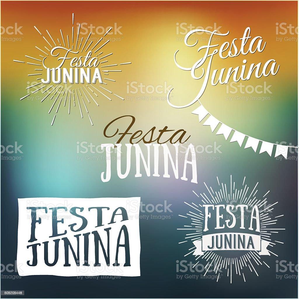 Festa Junina set of logos, emblems - traditional Brazil festival vector art illustration