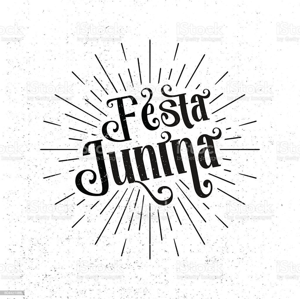 Festa Junina. Traditional Brazil June festival party holiday vector art illustration