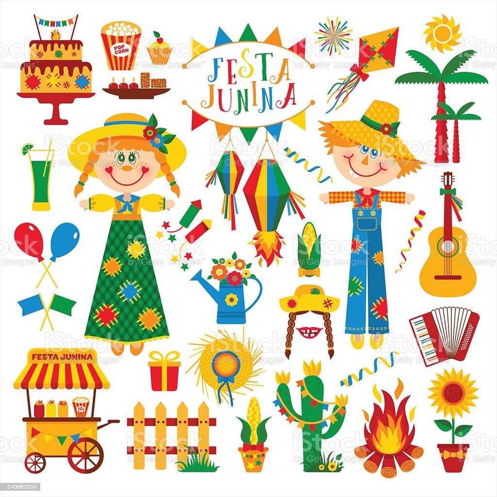 Festa Junina village festival in Latin America. vector art illustration