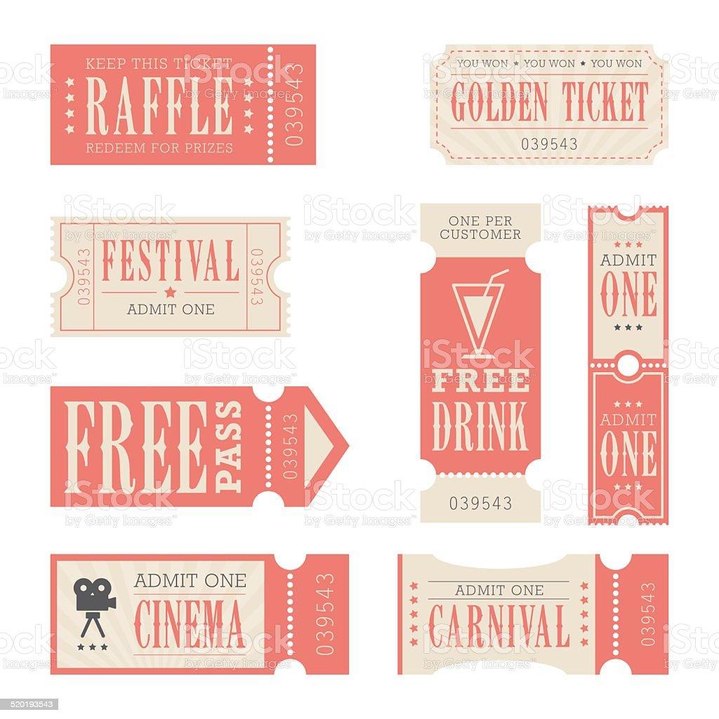 Festival & Carnival Tickets vector art illustration