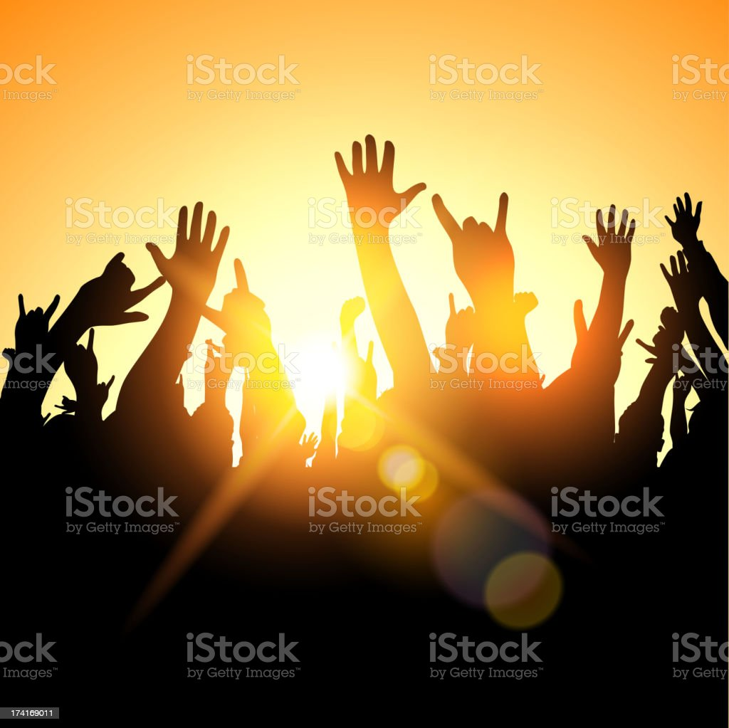 Festival Crowd vector art illustration