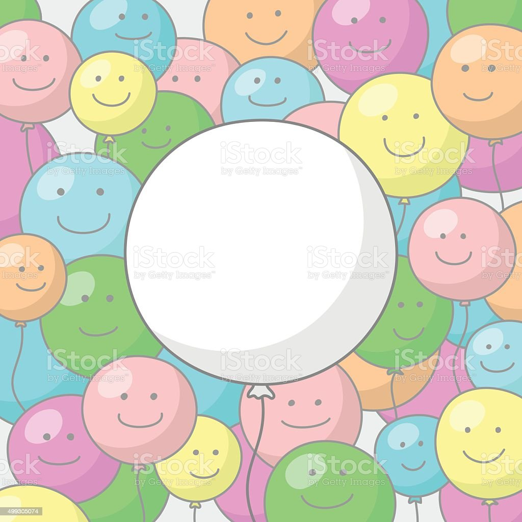 Festive background with balloons and smiles vector art illustration