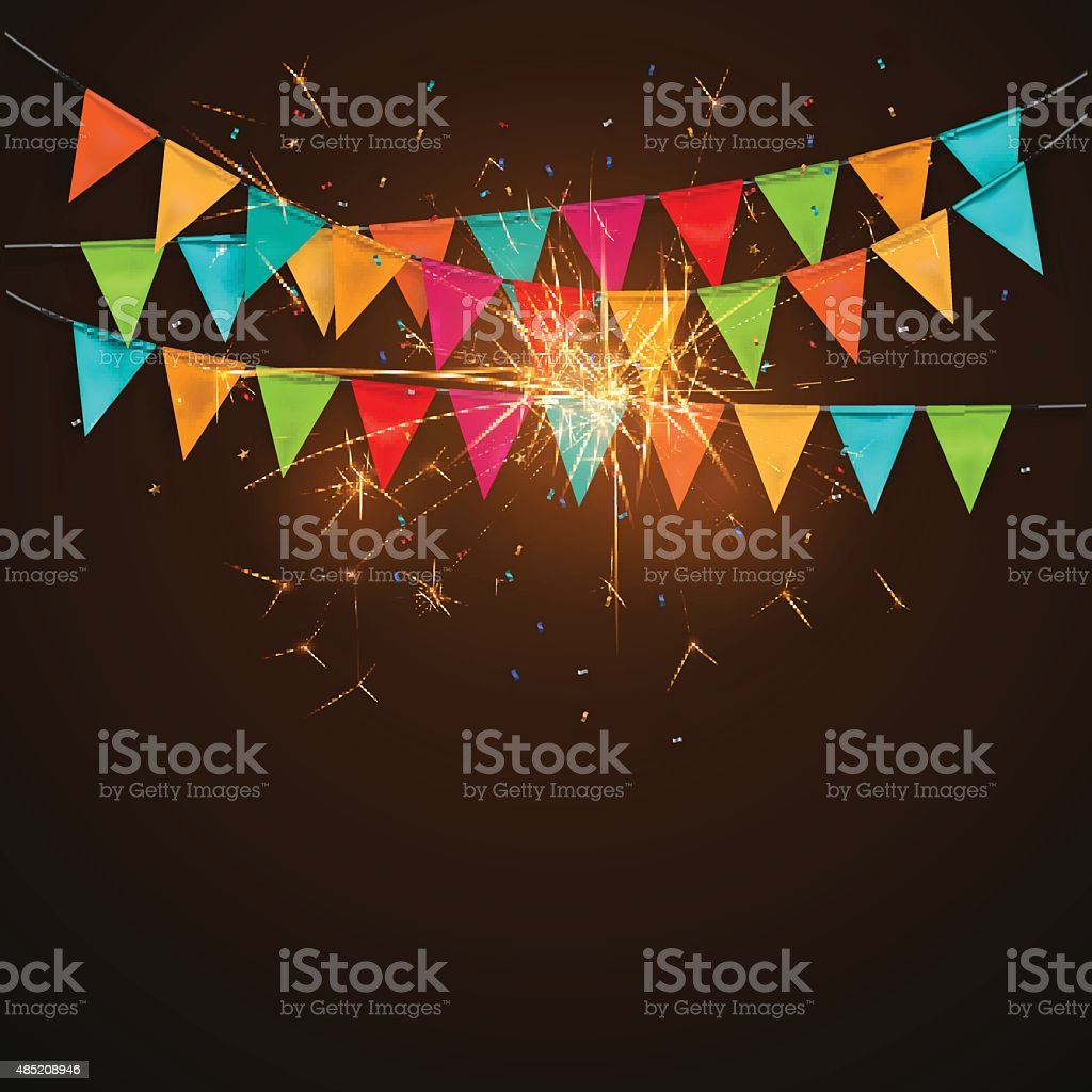 Festive background with flags,sparklers.vector vector art illustration