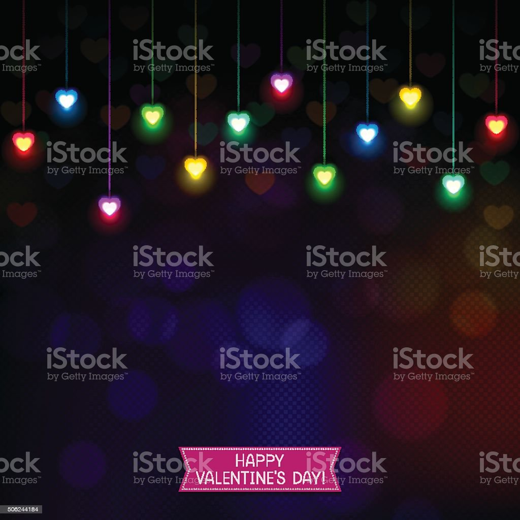 Festive background with heart-shaped lights vector art illustration