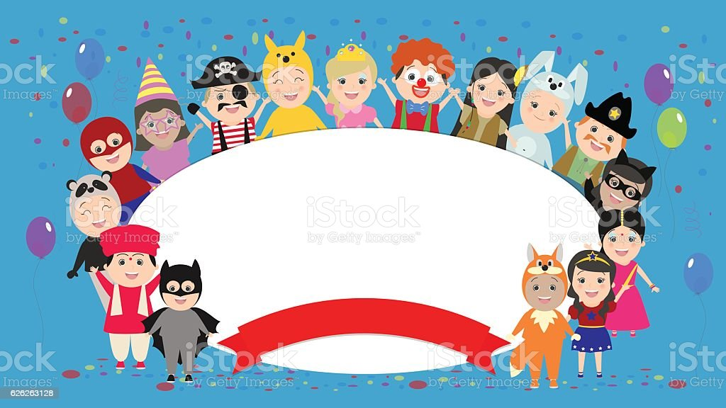 Festive background with kids in costumes around.Vector cartoon vector art illustration