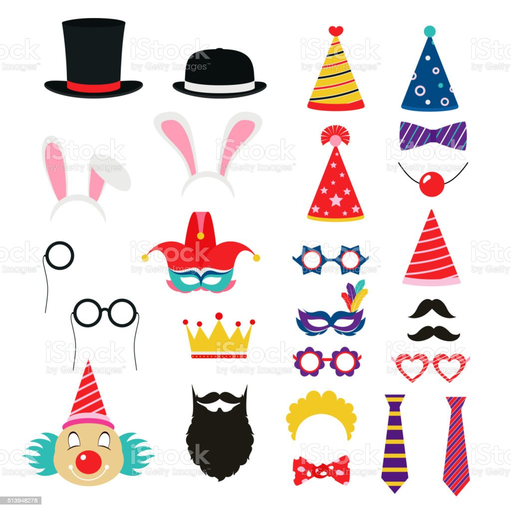 Festive birthday party elements of props. Hats, glasses, masks, vector art illustration
