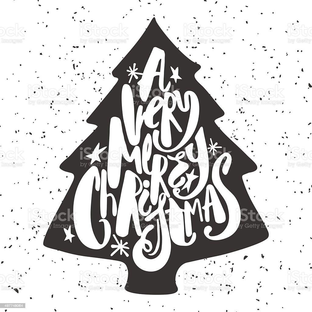 Festive calligraphy brushpen ink drawn lettering Christmas tree vector art illustration
