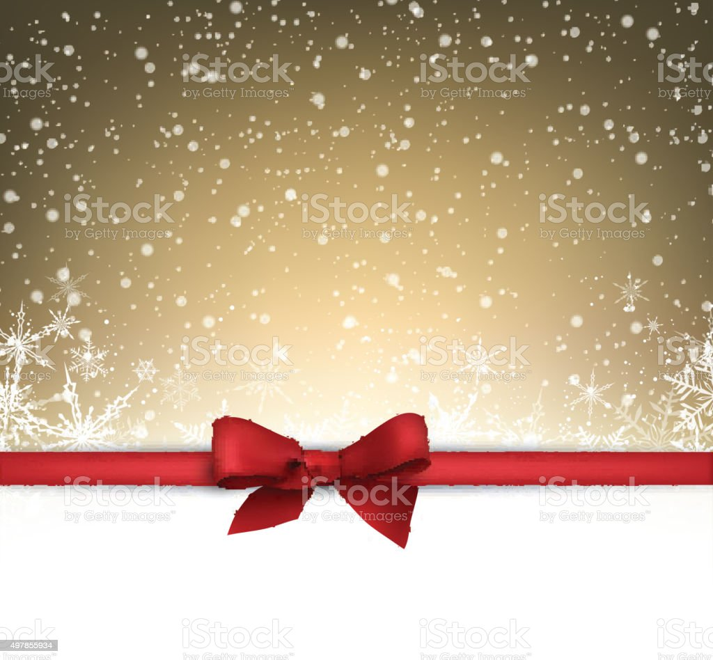 Festive card with bow vector art illustration
