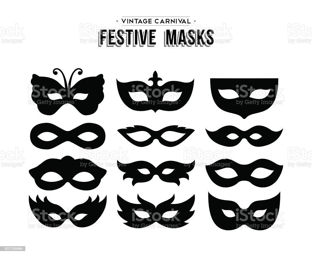 Festive carnival silhouettes mask set isolated vector art illustration