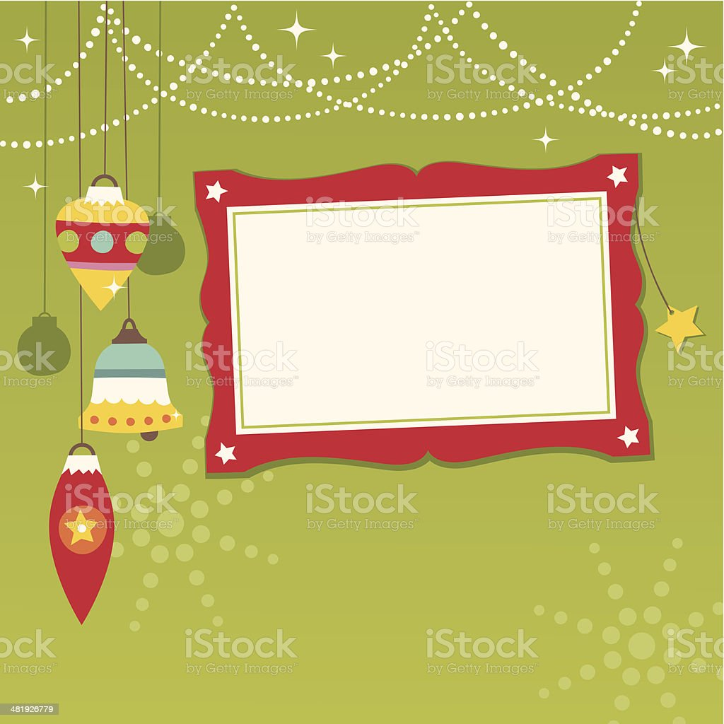 Festive Christmas baubles with photo frame royalty-free stock vector art