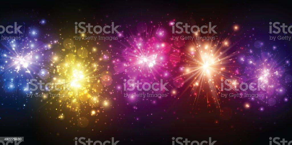 Festive color firework background vector art illustration