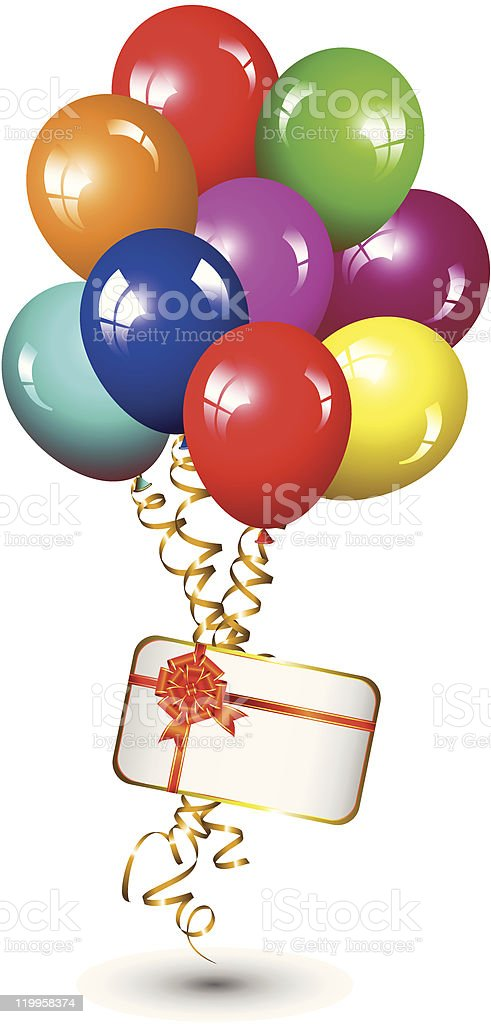 festive colored balloon with a gift royalty-free stock vector art
