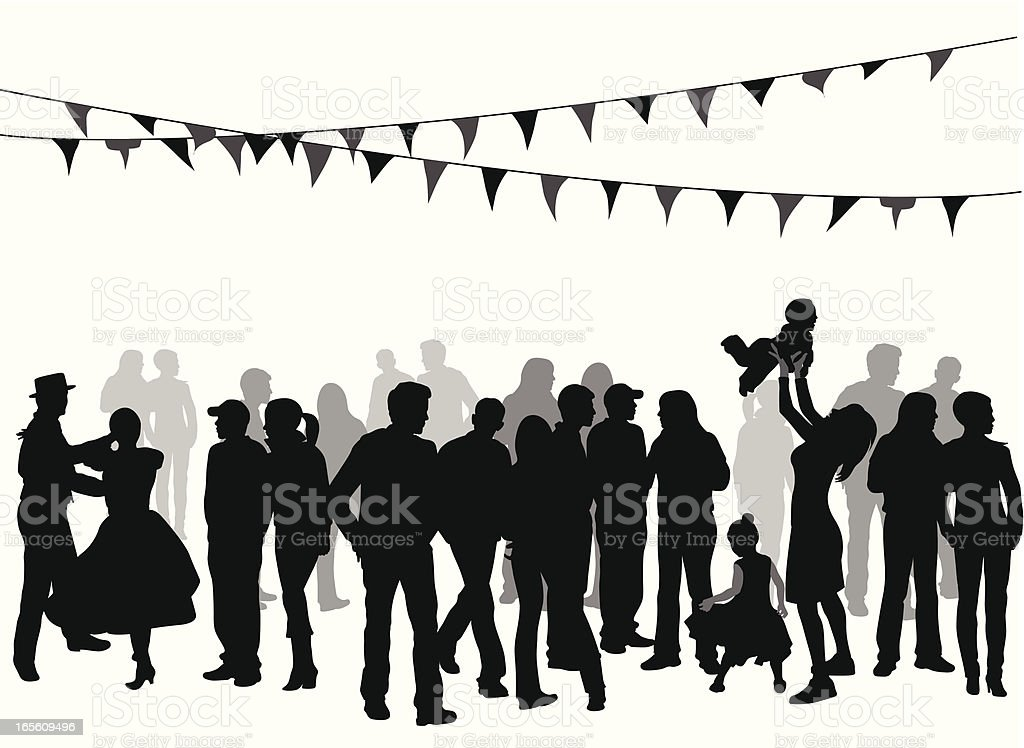Festive Crowd Vector Silhouette royalty-free stock vector art
