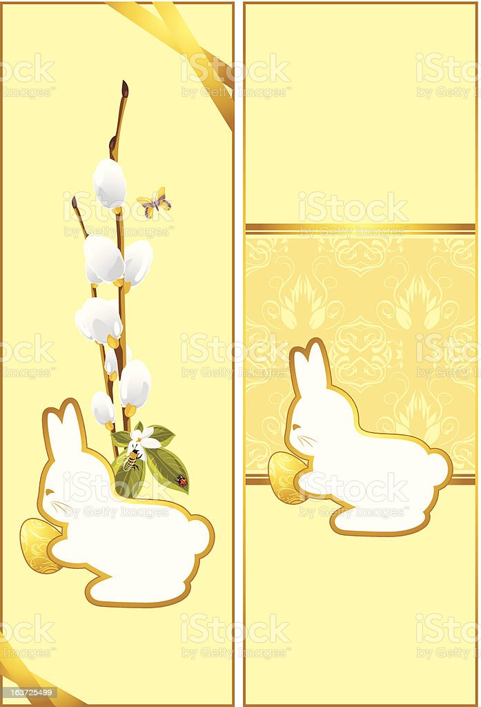 Festive Easter cards with bunny royalty-free stock vector art