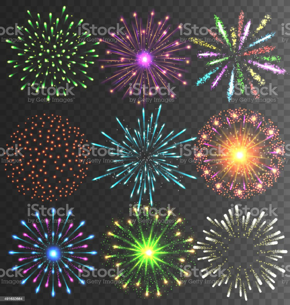 Festive Firework Salute Burst on Transparent vector art illustration